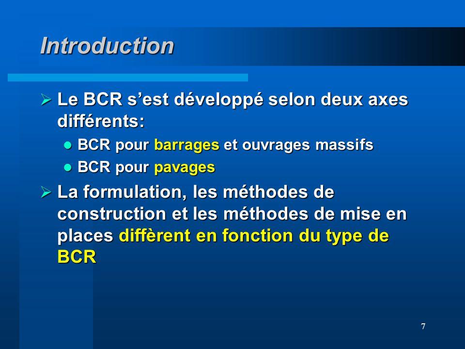 Introduction Le BCR s'est développé selon deux axes différents: