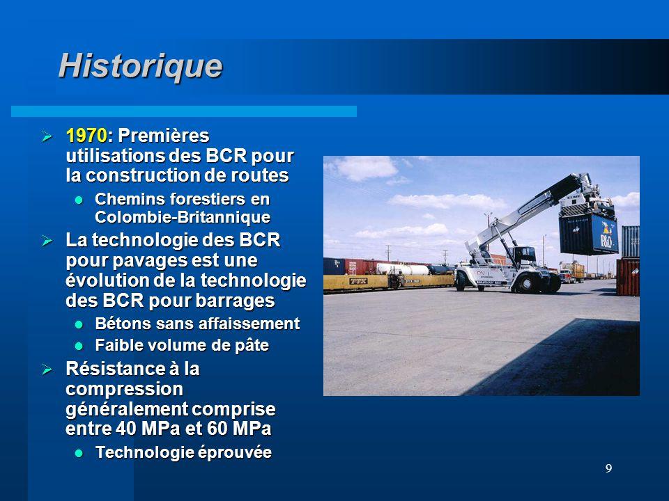 Historique 1970: Premières utilisations des BCR pour la construction de routes. Chemins forestiers en Colombie-Britannique.