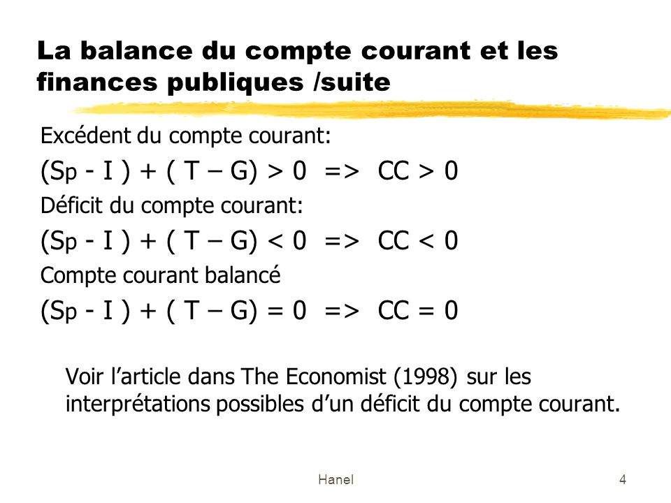 La balance du compte courant et les finances publiques /suite
