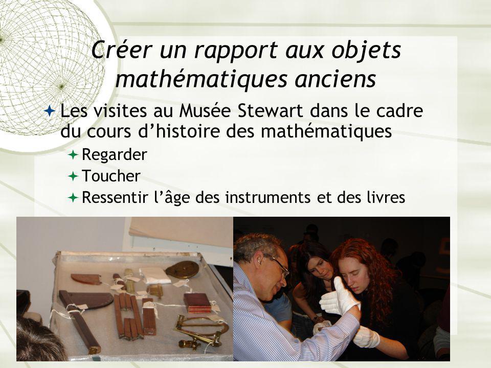 Créer un rapport aux objets mathématiques anciens