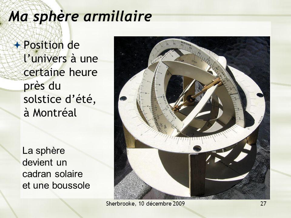 Ma sphère armillaire Position de l'univers à une certaine heure près du solstice d'été, à Montréal.