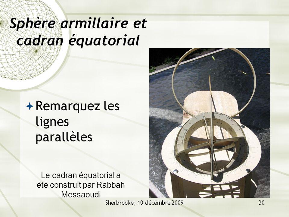Sphère armillaire et cadran équatorial