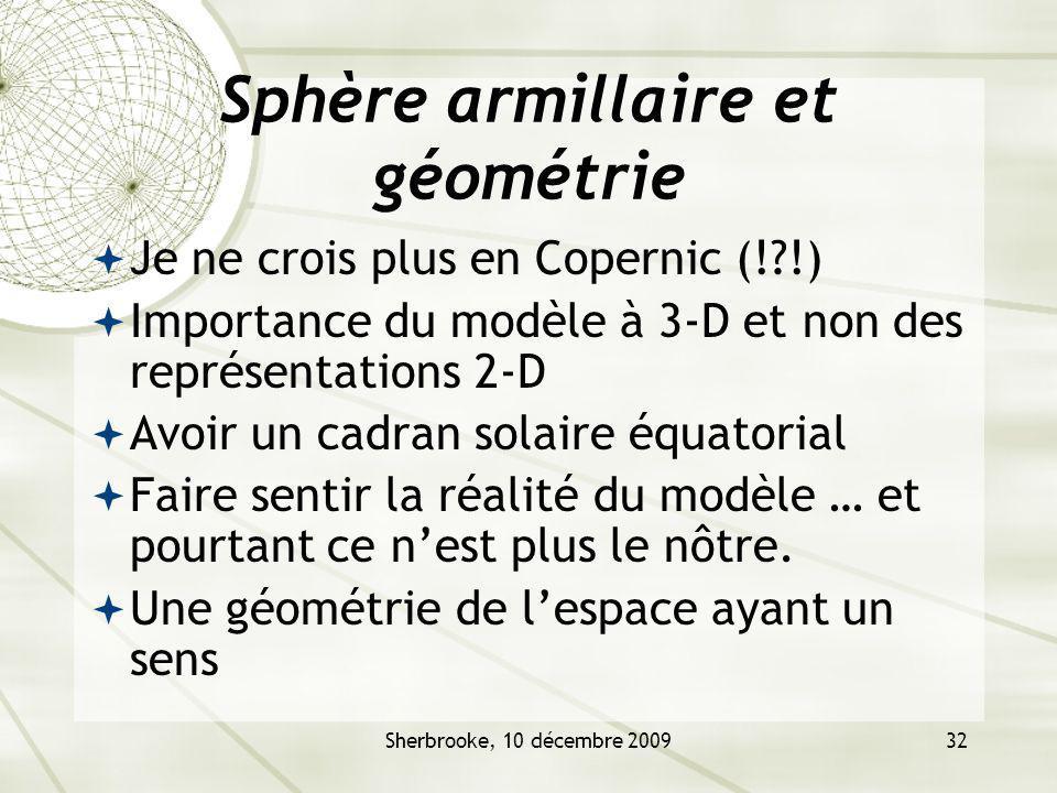 Sphère armillaire et géométrie