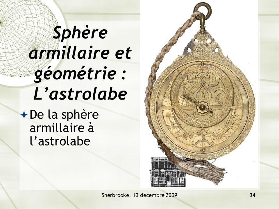 Sphère armillaire et géométrie : L'astrolabe