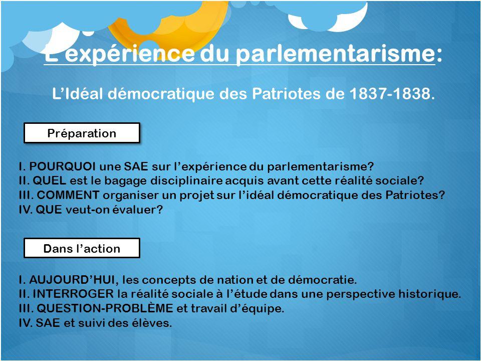 L'expérience du parlementarisme: L'Idéal démocratique des Patriotes de 1837-1838.
