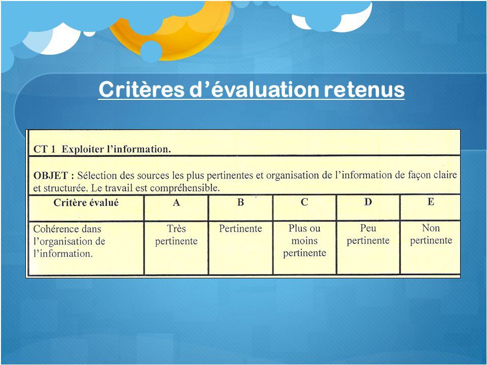 Critères d'évaluation retenus