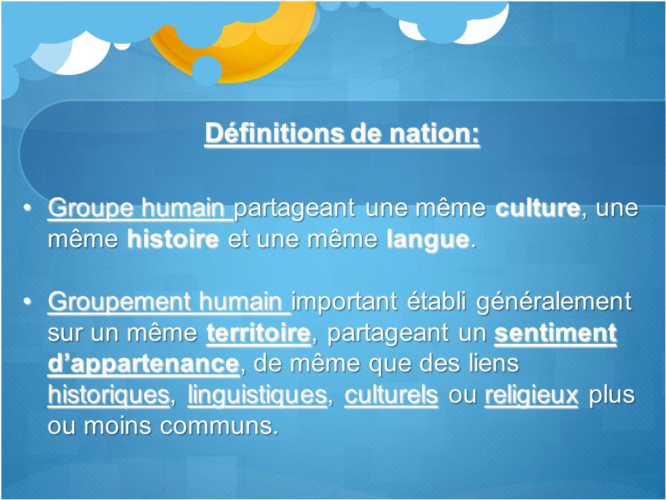 Définitions de nation: