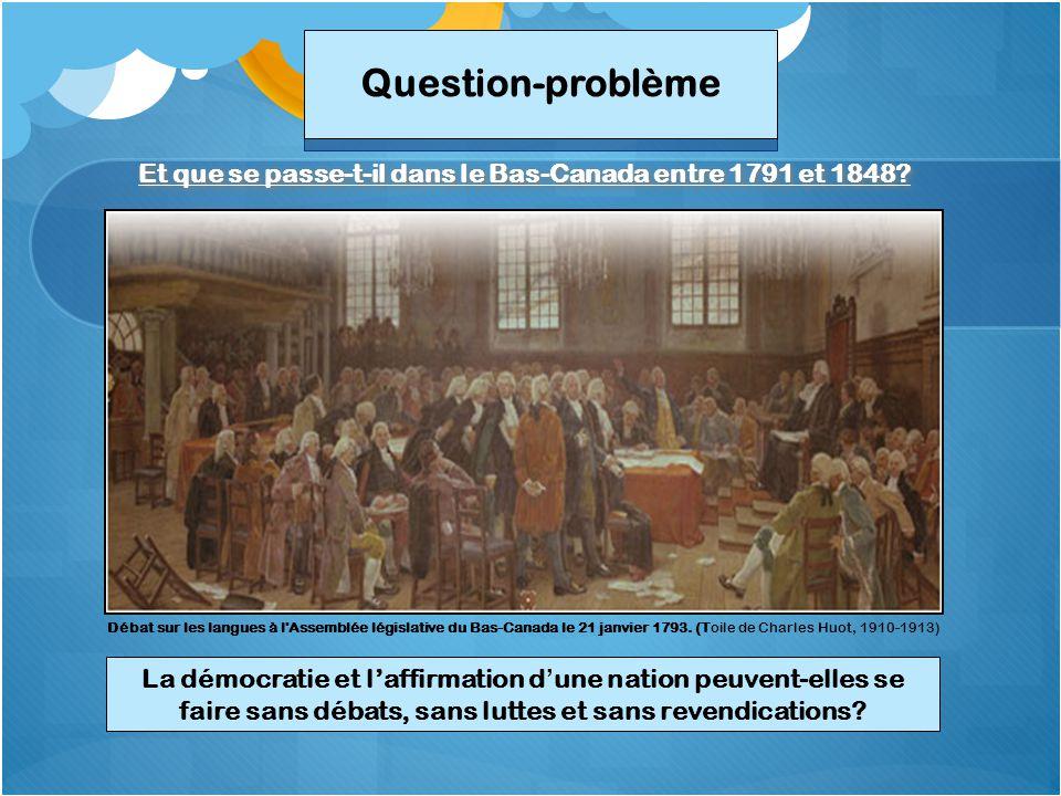 Et que se passe-t-il dans le Bas-Canada entre 1791 et 1848