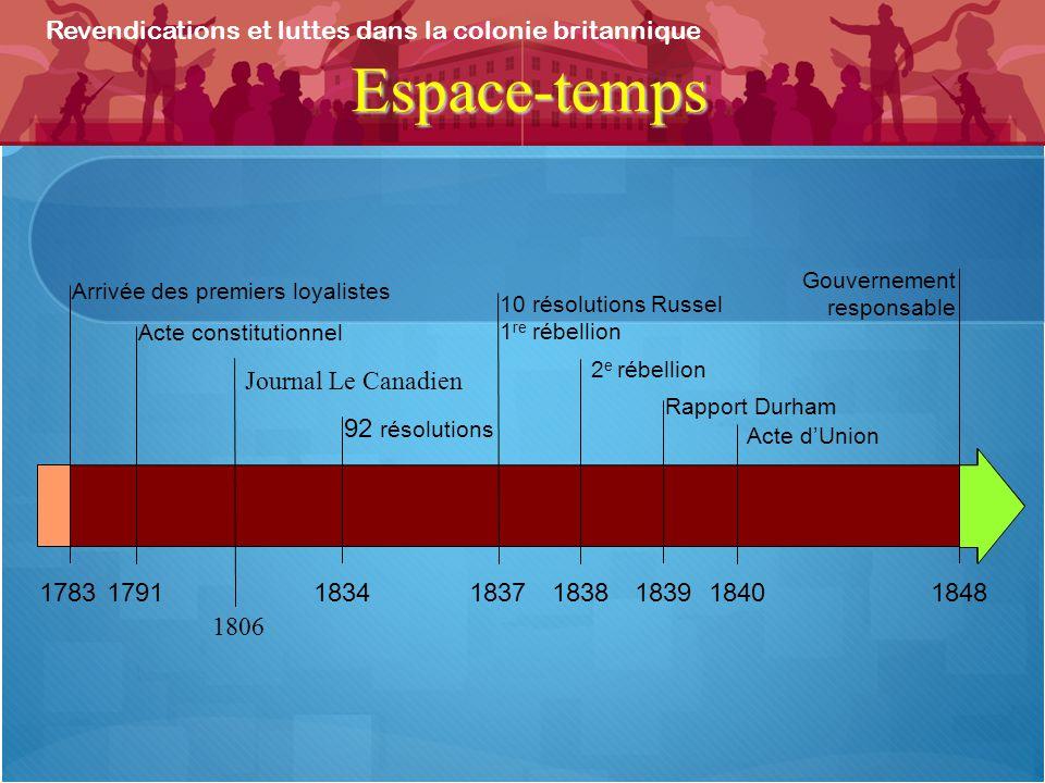 Espace-temps Revendications et luttes dans la colonie britannique