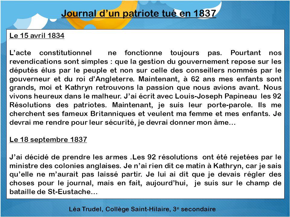 Journal d'un patriote tué en 1837