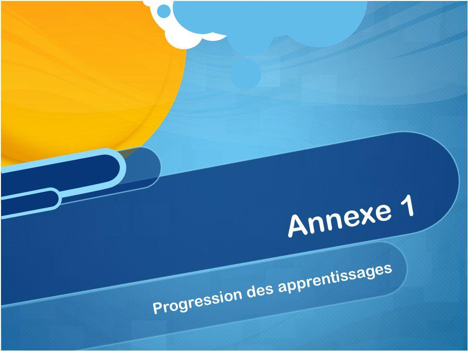 Annexe 1 Progression des apprentissages