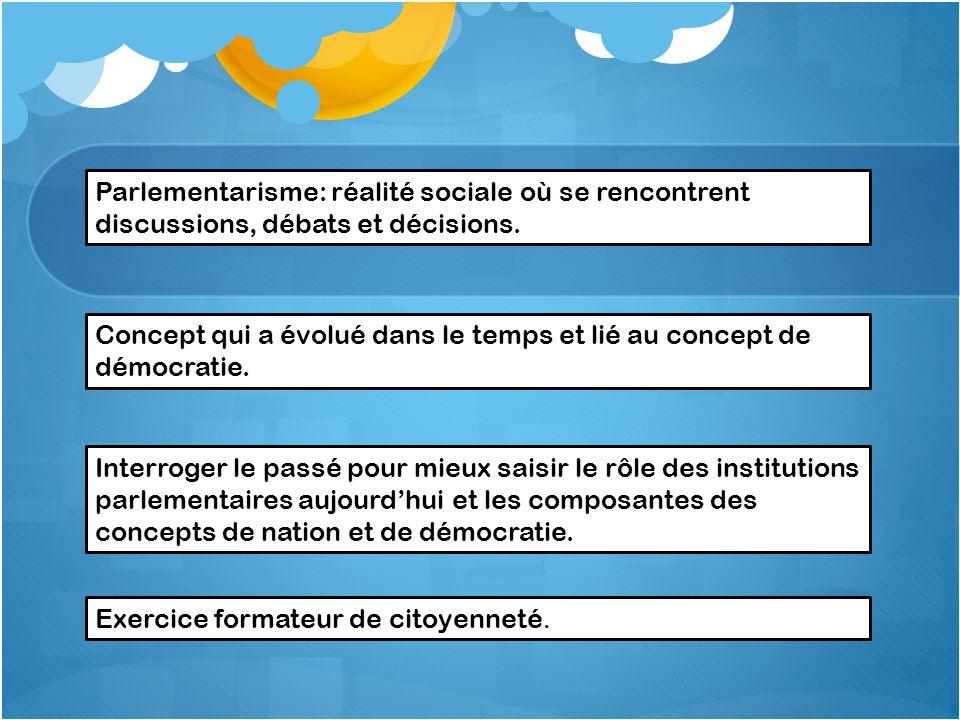Parlementarisme: réalité sociale où se rencontrent discussions, débats et décisions.