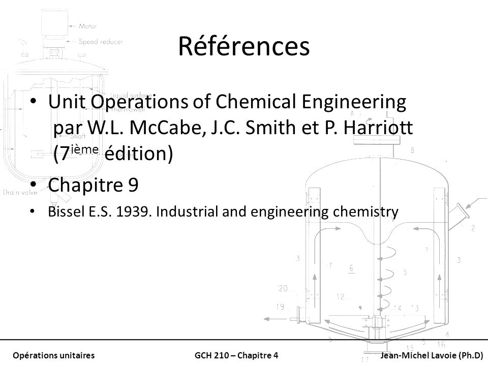 Références Unit Operations of Chemical Engineering par W.L. McCabe, J.C. Smith et P. Harriott (7ième édition)