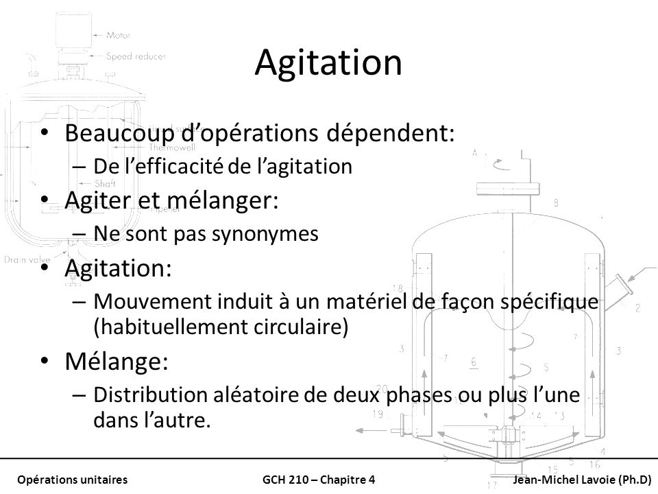Agitation Beaucoup d'opérations dépendent: Agiter et mélanger: