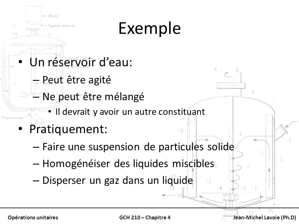 Exemple Un réservoir d'eau: Pratiquement: Peut être agité