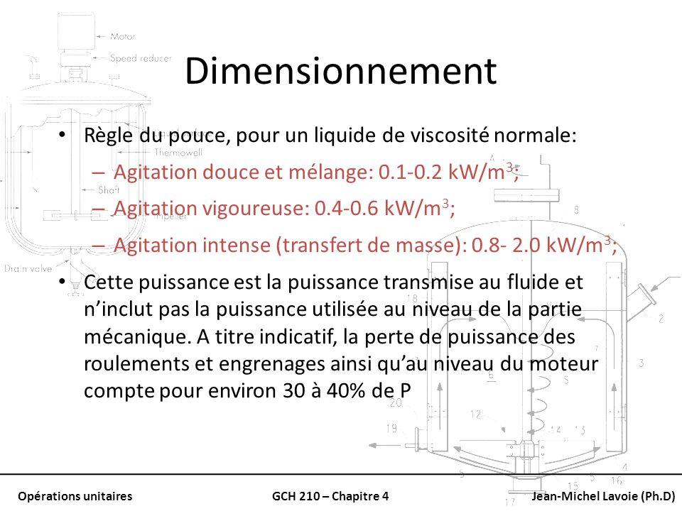 Dimensionnement Règle du pouce, pour un liquide de viscosité normale: