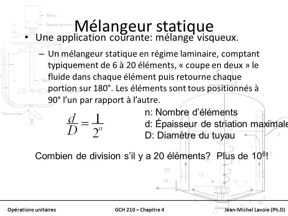 Mélangeur statique Une application courante: mélange visqueux.