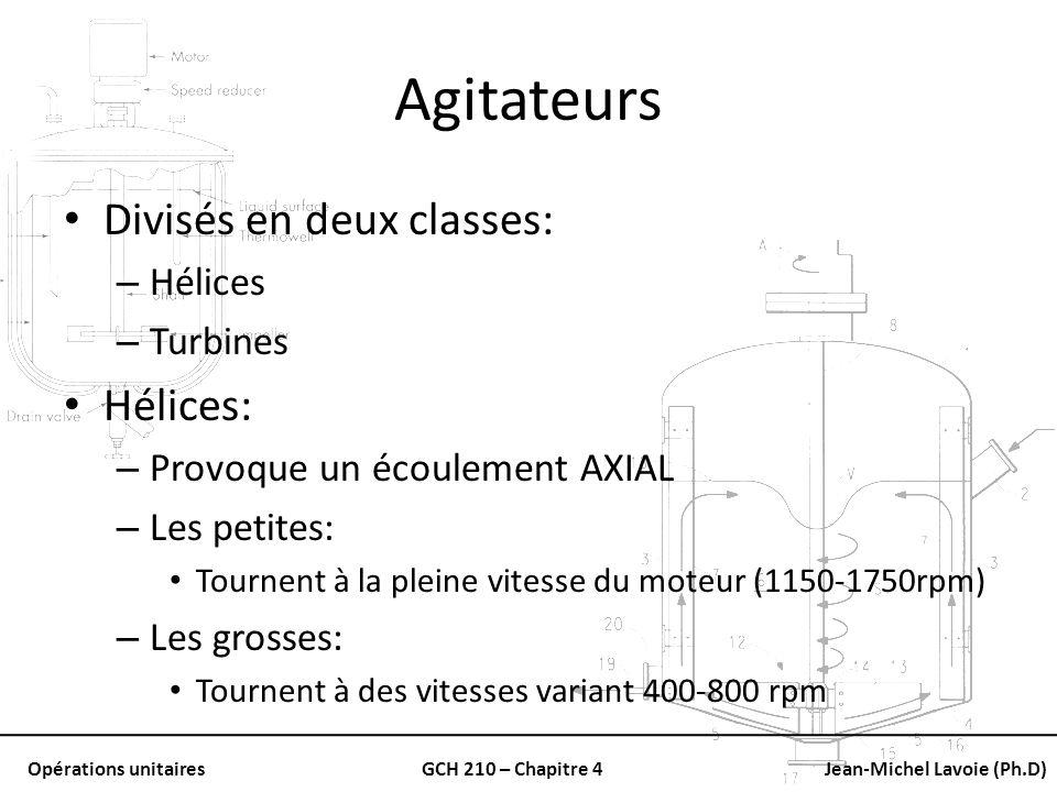 Agitateurs Divisés en deux classes: Hélices: Hélices Turbines