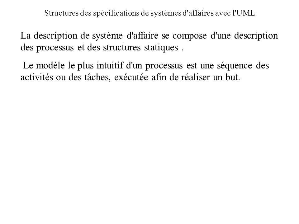 Structures des spécifications de systèmes d affaires avec l UML
