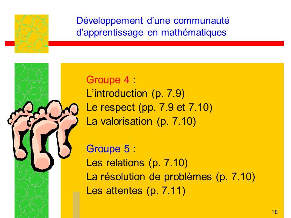 Développement d'une communauté d'apprentissage en mathématiques