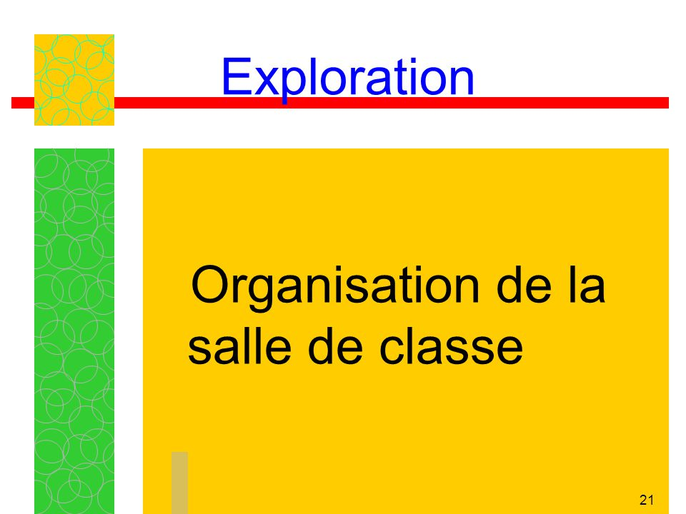 Exploration Organisation de la salle de classe