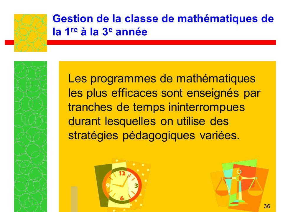 Gestion de la classe de mathématiques de la 1re à la 3e année