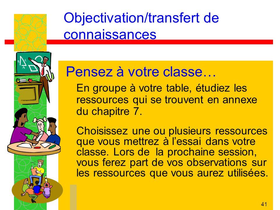Objectivation/transfert de connaissances