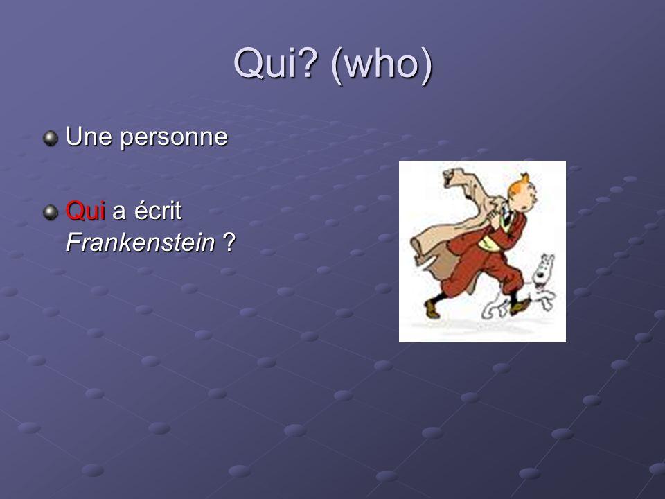 Qui (who) Une personne Qui a écrit Frankenstein