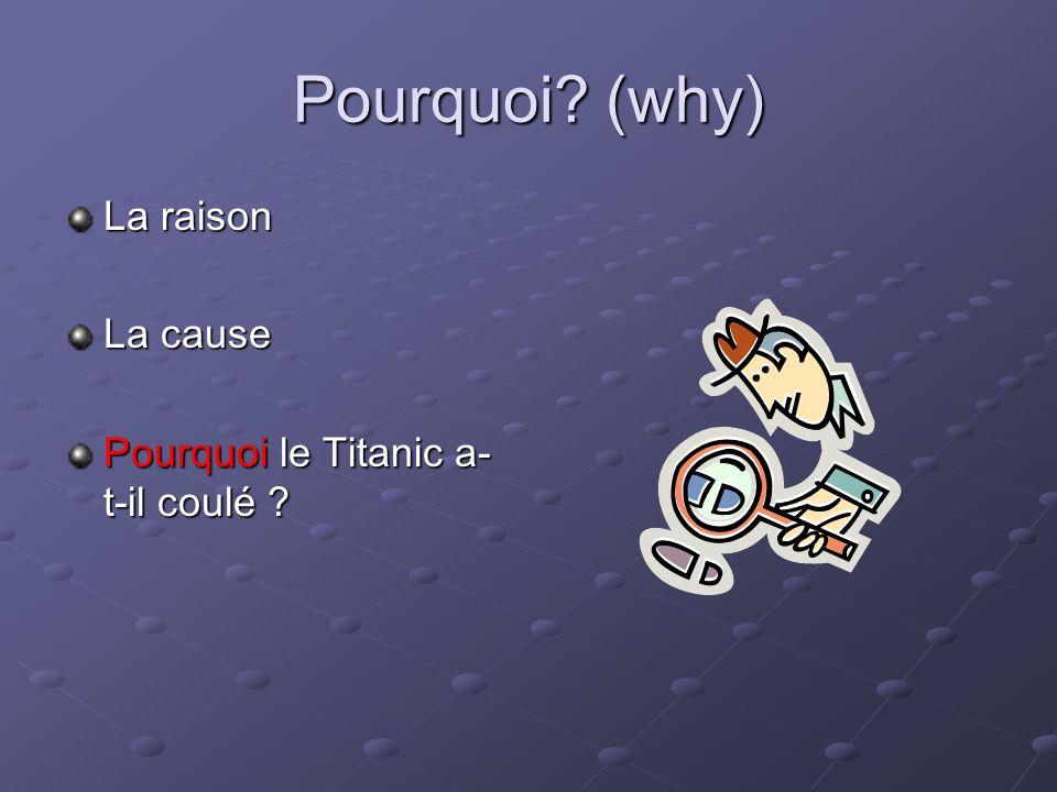 Pourquoi (why) La raison La cause Pourquoi le Titanic a-t-il coulé