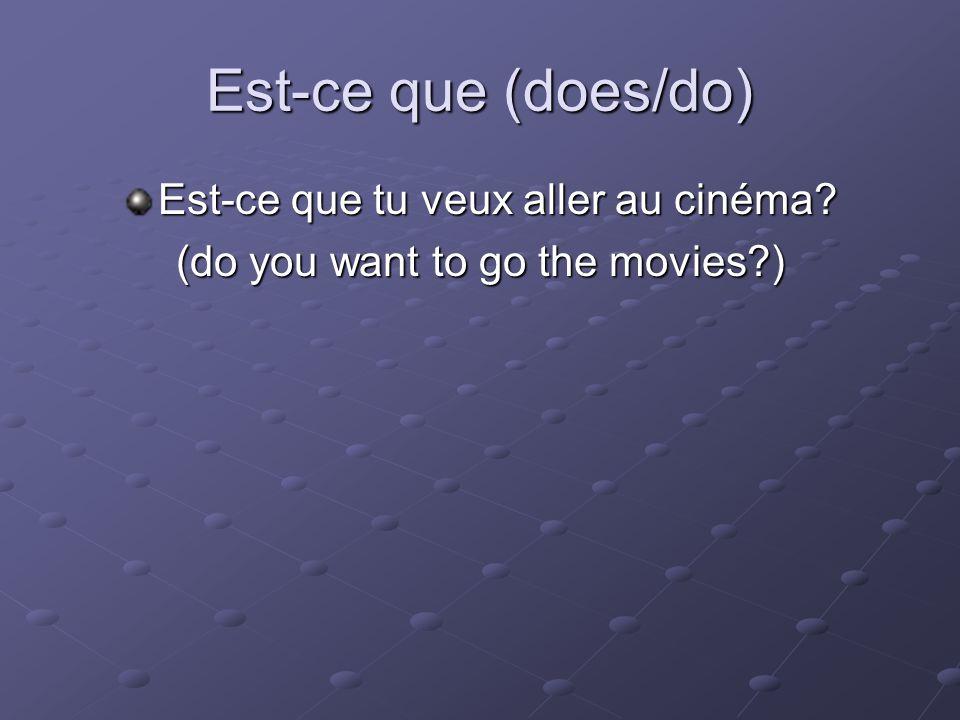 Est-ce que (does/do) Est-ce que tu veux aller au cinéma