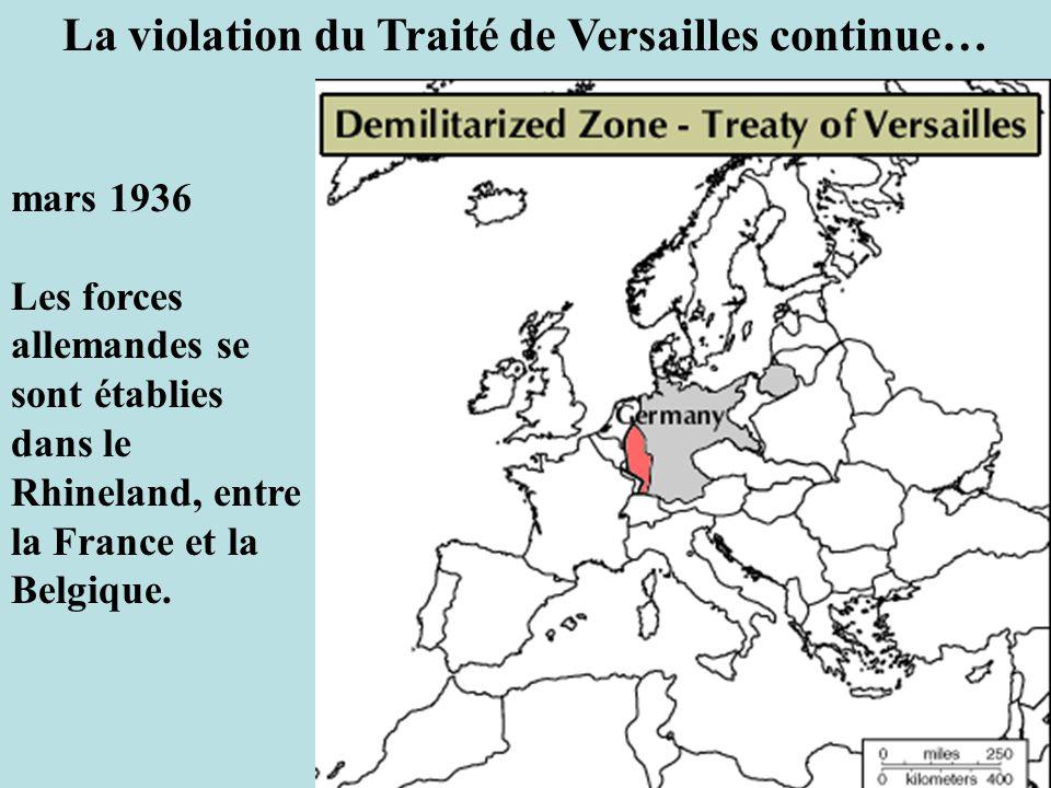 La violation du Traité de Versailles continue…
