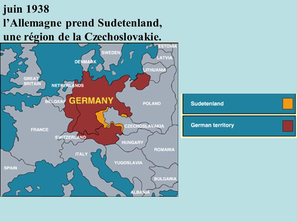 juin 1938 l'Allemagne prend Sudetenland, une région de la Czechoslovakie.