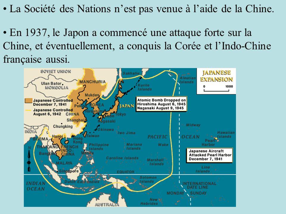 La Société des Nations n'est pas venue à l'aide de la Chine.