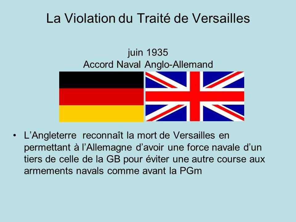 La Violation du Traité de Versailles juin 1935 Accord Naval Anglo-Allemand
