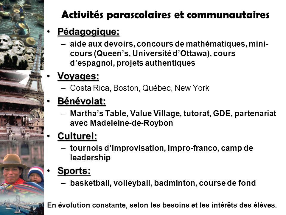 Activités parascolaires et communautaires