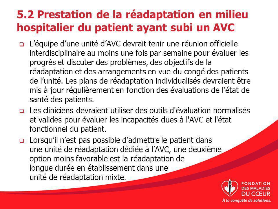 5.2 Prestation de la réadaptation en milieu hospitalier du patient ayant subi un AVC