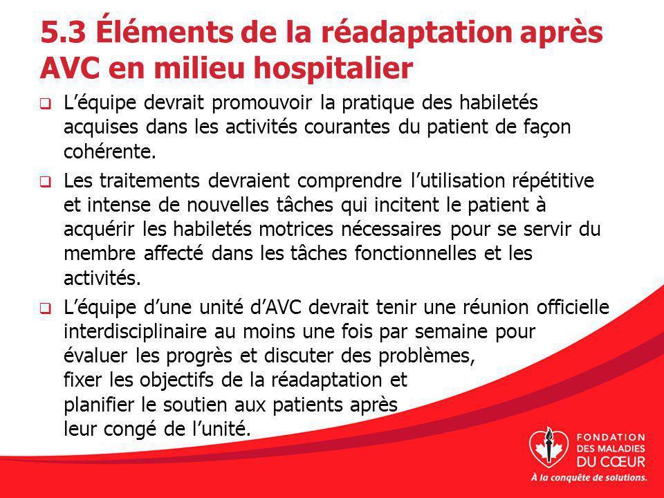 5.3 Éléments de la réadaptation après AVC en milieu hospitalier