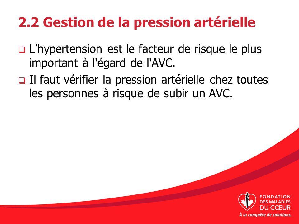 2.2 Gestion de la pression artérielle