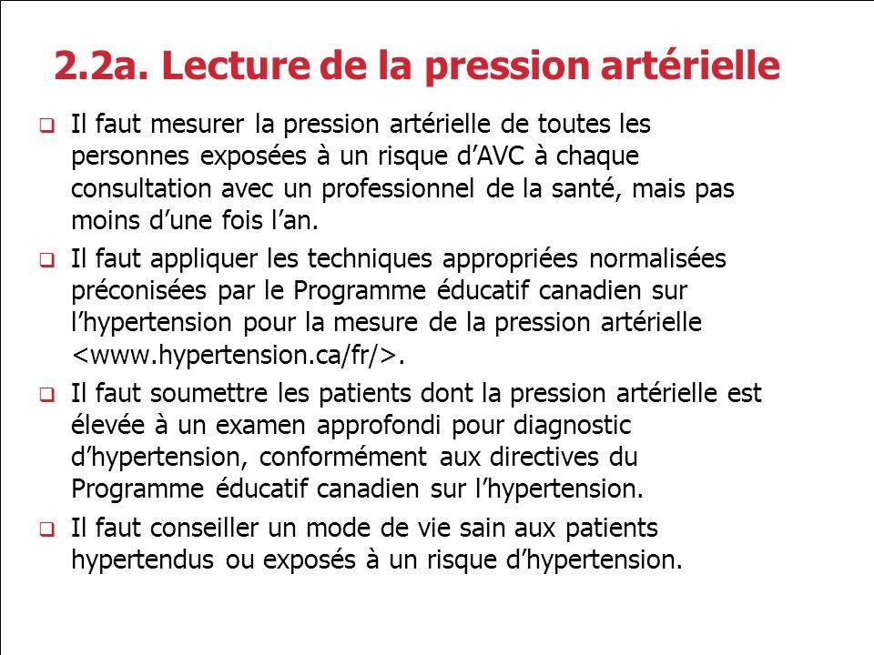 2.2a. Lecture de la pression artérielle