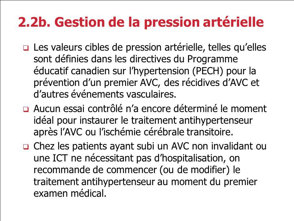 2.2b. Gestion de la pression artérielle