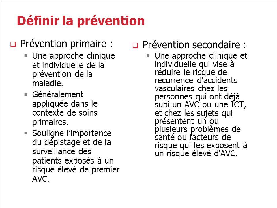 Définir la prévention Prévention primaire : Prévention secondaire :
