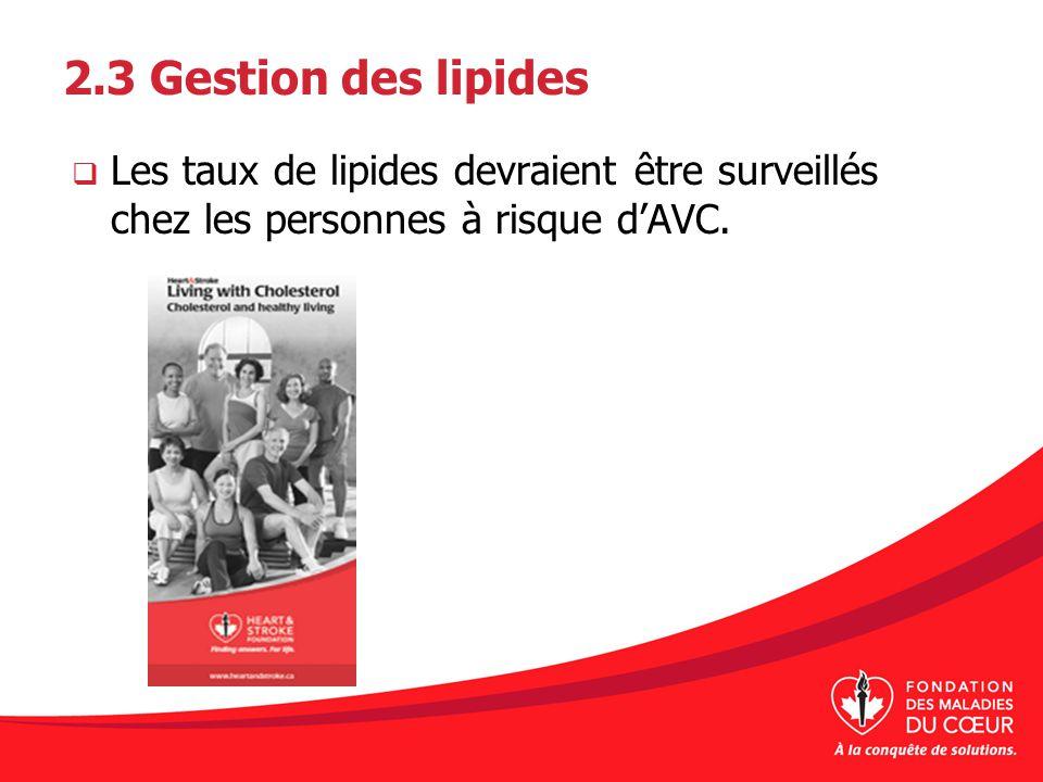 2.3 Gestion des lipides Les taux de lipides devraient être surveillés chez les personnes à risque d'AVC.
