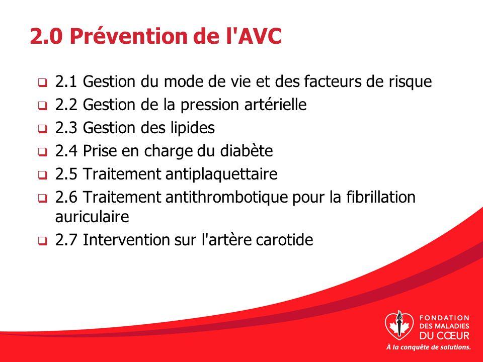 2.0 Prévention de l AVC 2.1 Gestion du mode de vie et des facteurs de risque. 2.2 Gestion de la pression artérielle.