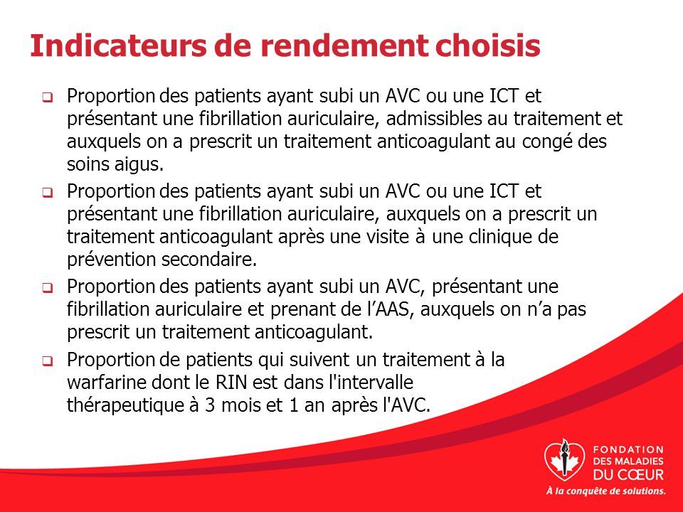 Indicateurs de rendement choisis