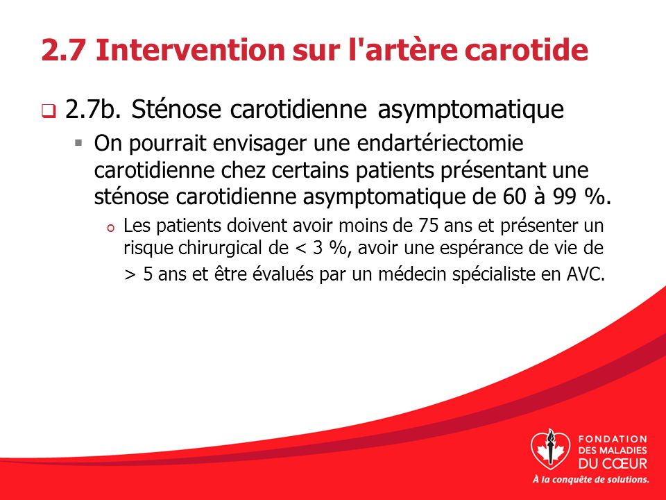 2.7 Intervention sur l artère carotide