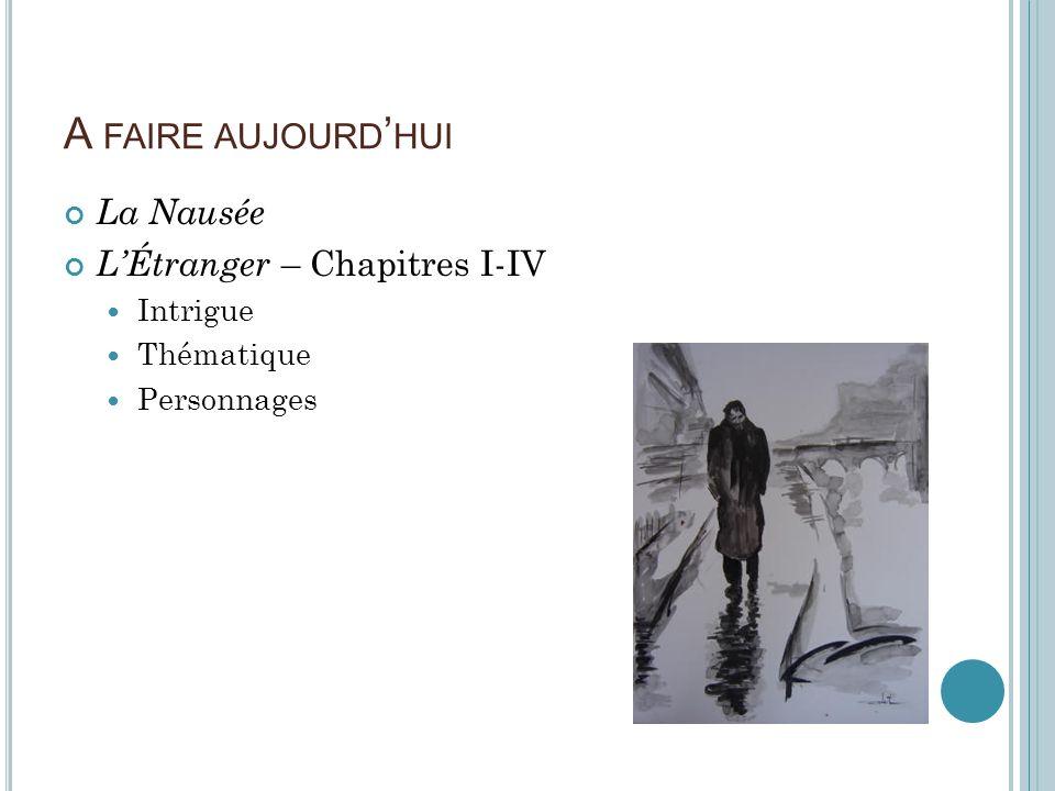 A faire aujourd'hui La Nausée L'Étranger – Chapitres I-IV Intrigue