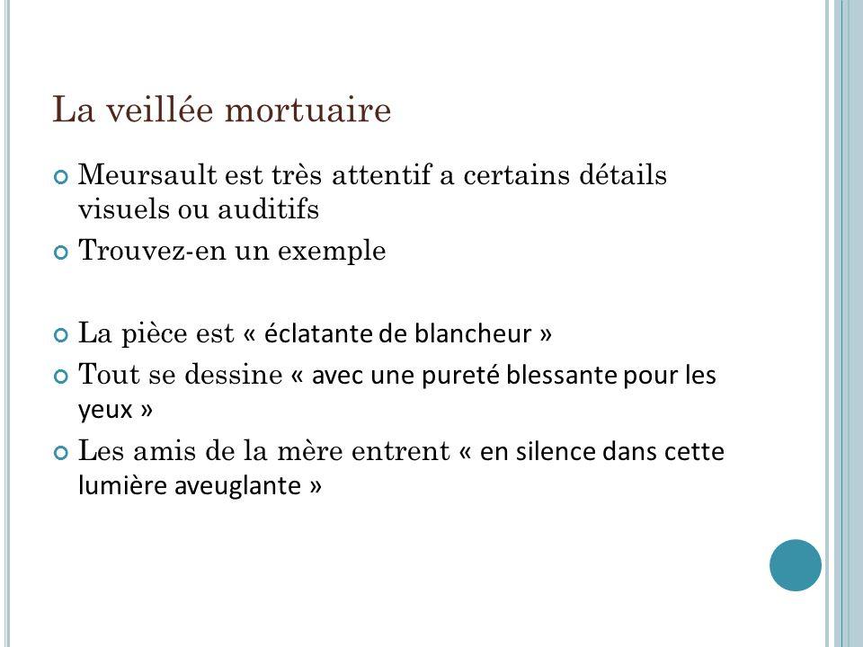 La veillée mortuaire Meursault est très attentif a certains détails visuels ou auditifs. Trouvez-en un exemple.