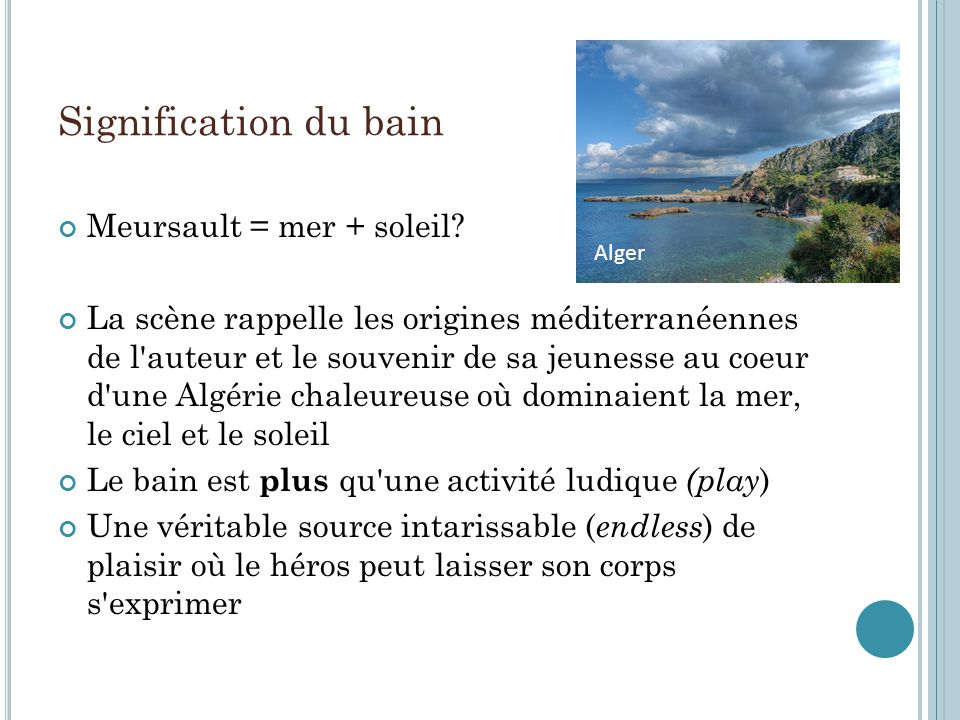 Signification du bain Meursault = mer + soleil