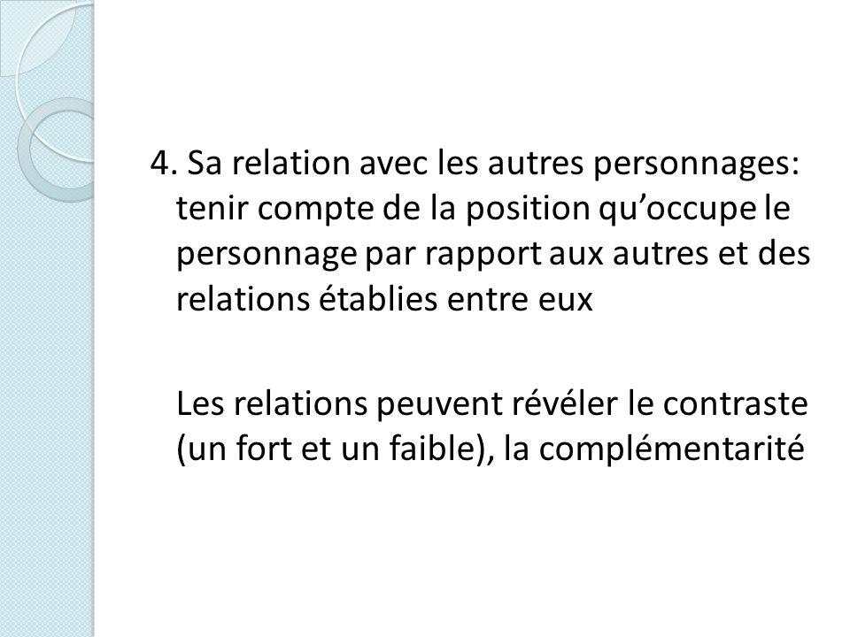 4. Sa relation avec les autres personnages: tenir compte de la position qu'occupe le personnage par rapport aux autres et des relations établies entre eux