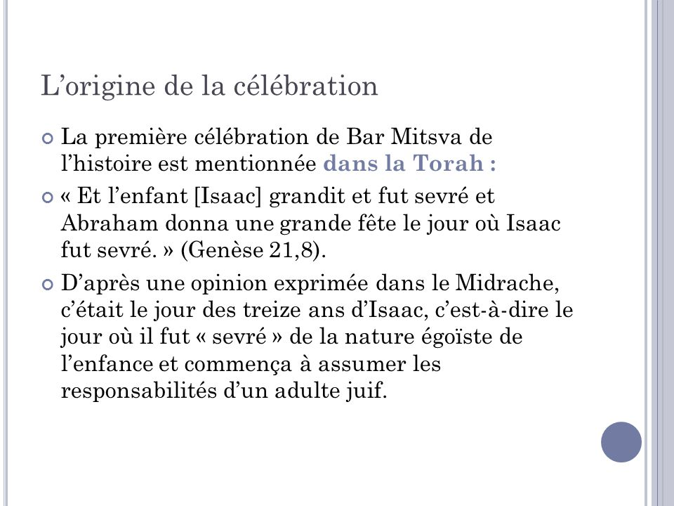 L'origine de la célébration